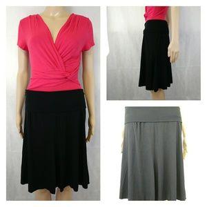 Max Studio beautiful black split seam circle skirt